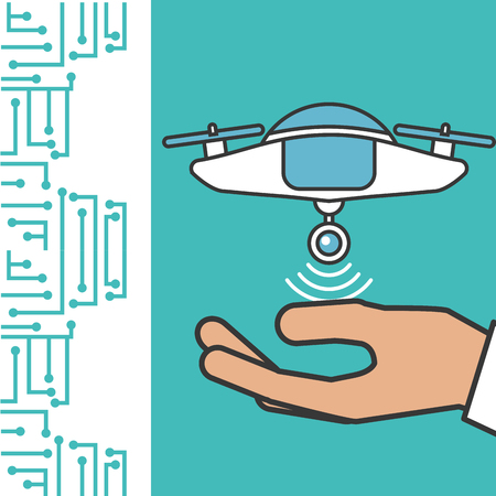 drone technology futuristic hand showing device flying vector illustration