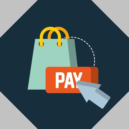 nfc payment technology arrow pay handbag vector illustration