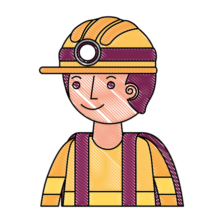 man miner in helmet and equipment portrait vector illustration drawing Stockfoto