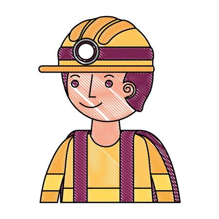 man miner in helmet and equipment portrait vector illustration drawing Stock Photo