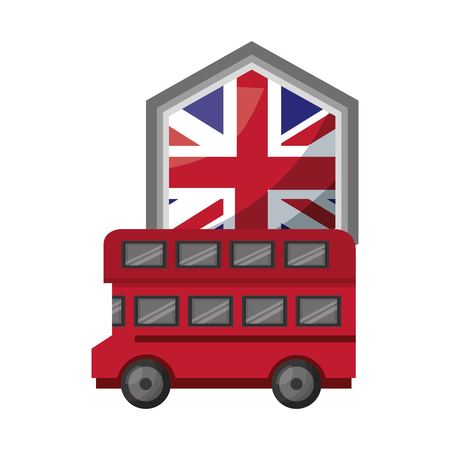 bus transport with emblem of flag great britain vector illustration design Stockfoto