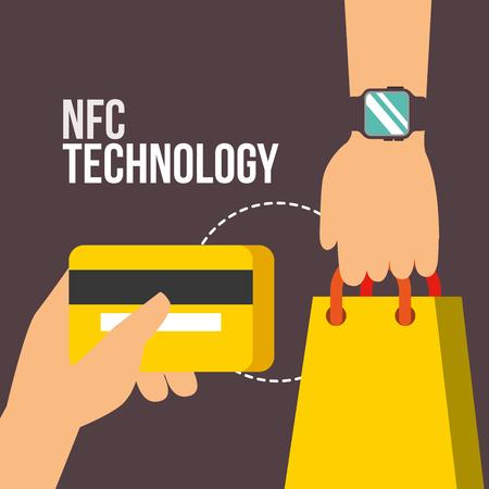 nfc payment technology hands holding handbag credit card vector illustration Imagens