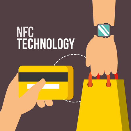 nfc payment technology hands holding handbag credit card vector illustration Stock Photo