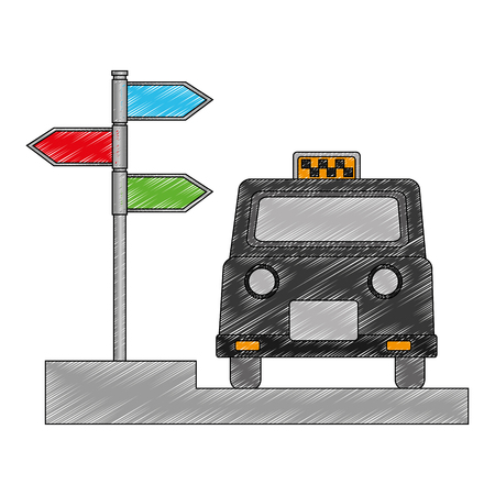 london taxi and signage with arrows vector illustration design Stock Photo