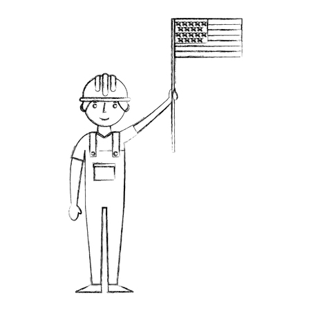 worker contruction in overalls holding american flag labor day vector illustration sketch