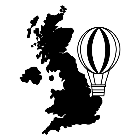 united kingdom map hot air balloon vector illustration