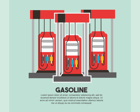 Illustration vectorielle de l'industrie pétrolière de remplissage de la pompe de la station essence Vecteurs