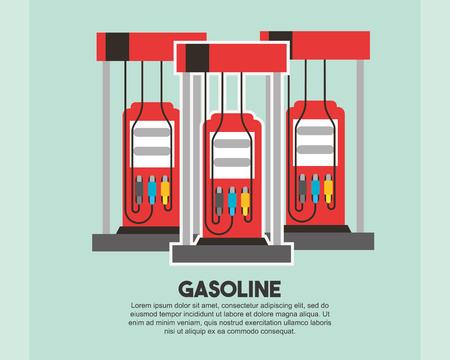 Ilustración de vector de industria petrolera de recarga de bomba de estación de gasolina Ilustración de vector