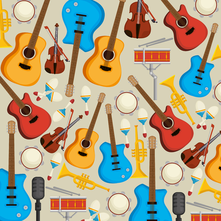 set musical instruments icons vector illustration design Stock Illustratie
