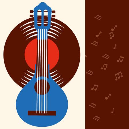 jazz festival blue banjo disk music frame vector illustration