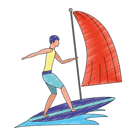 man in surfboard with waves sea avatar character vector illustration design Illustration