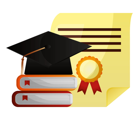 graduation hat stack books and diploma vector illustration