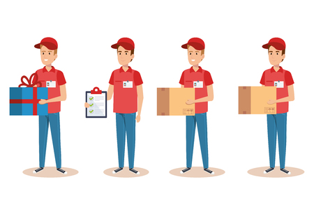 team couriers characters delivery service vector illustration design Çizim
