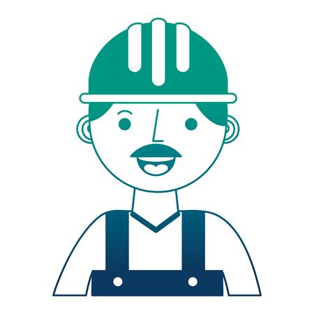 construction man worker with helmet and overalls portrait vector illustration gradient design