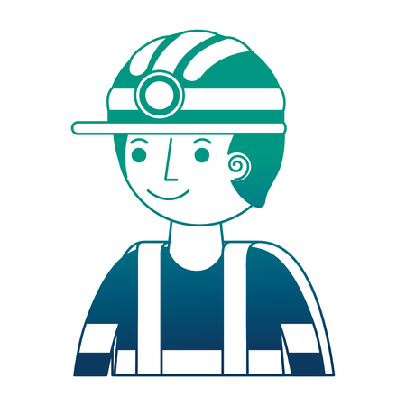 man miner in helmet and equipment portrait vector illustration gradient design