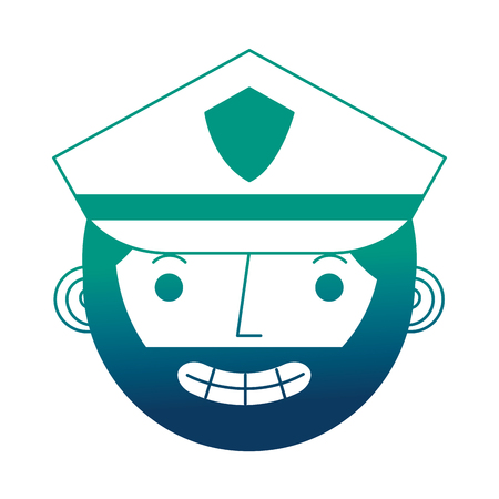 police man in uniform character face character vector illustration gradient design Illustration