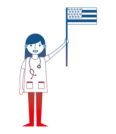 commercial airplane pilot holding american flag labor day vector illustration gradient design