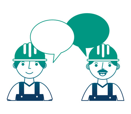 workers contruction portrait talking speech bubble vector illustration gradient design Stock fotó - 114727908