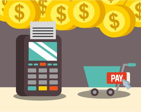 nfc payment technology coins money dataphone shopping cart vector illustration