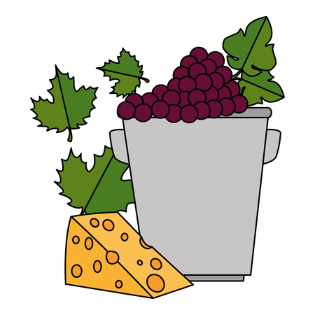 bucket with grapes cluster and cheese vector illustration design Stock Photo