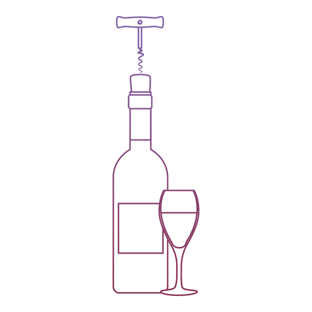 wine bottle silhouette with corkscrew and cup vector illustration design Stock Illustration - 104965035