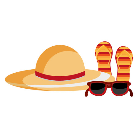 summer hat with flip flops and sunglasses vector illustration design Stock Photo