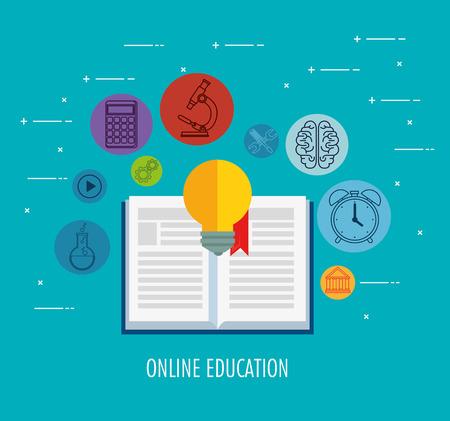 on line education set icons vector illustration design