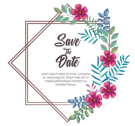 invitation card with flowers decoration vector illustration design