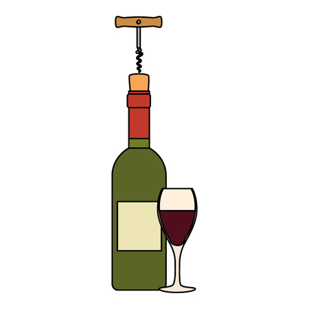 wine bottle silhouette with corkscrew and cup vector illustration design Stock Illustration - 104965056