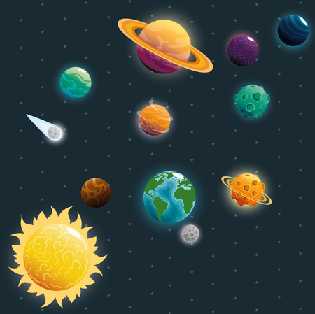 planets of the solar system scene vector illustration design 스톡 콘텐츠