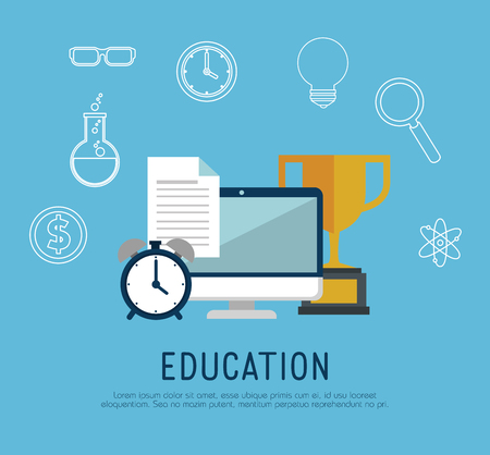 on line education with computer vector illustration design Stock Illustration - 105316641