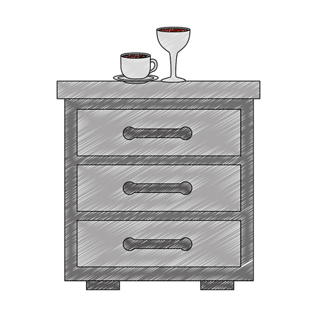 wooden drawer with cup of coffee and cup wine icon vector illustration design