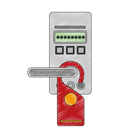 access digital door panel with hotel label hanging vector illustration design Illustration