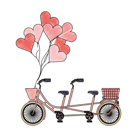 retro tandem bicycle with balloons helium vector illustration design Illustration
