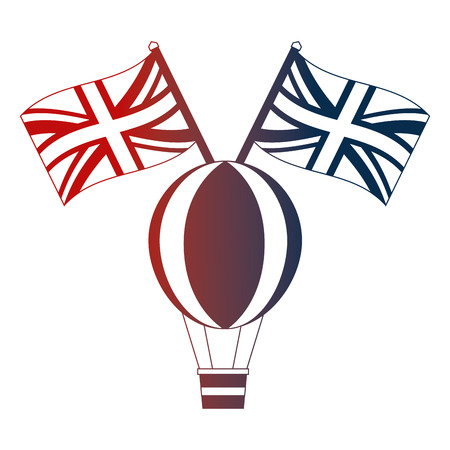 hot air balloon and british flags vector illustration