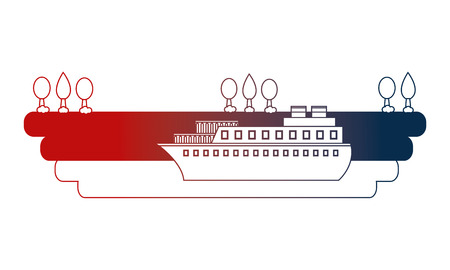 container ship shipping at the port vector illustration