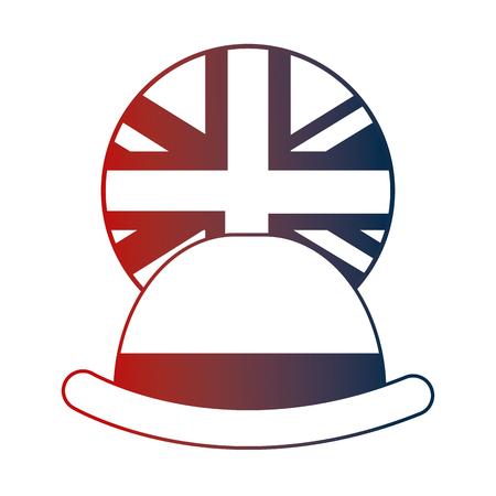 bowler hat elegance english flag button vector illustration