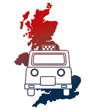 united kingdom map and taxi vehicle vector illustration