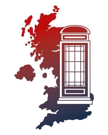 united kingdom map telephone booth vector illustration