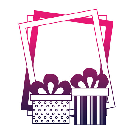birthday gift boxes and frame celebration vector illustration