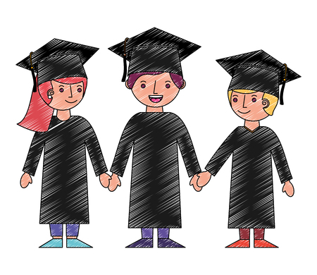 group of students graduted avatars characters vector illustration design Stok Fotoğraf - 114727925