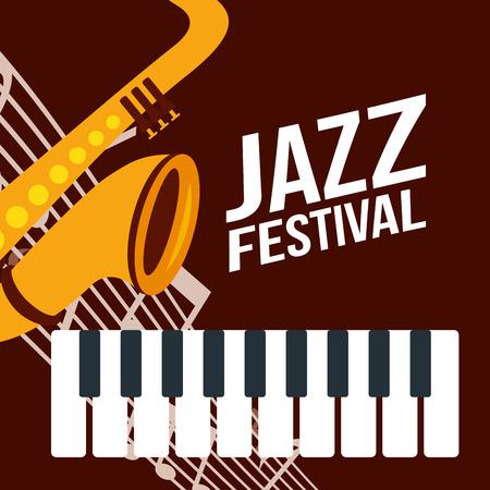 jazz festival saxophone trumpet instruments piano music vector illustration  イラスト・ベクター素材