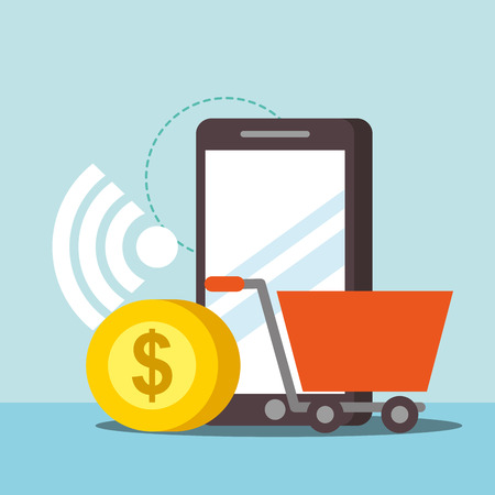 nfc payment technology coin shopping cart smartphone signal vector illustration