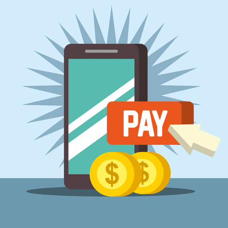 nfc payment technology smartphone pay coins vector illustration
