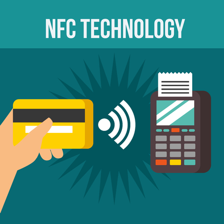 nfc payment technology dataphone hand holding credit card signal vector illustration