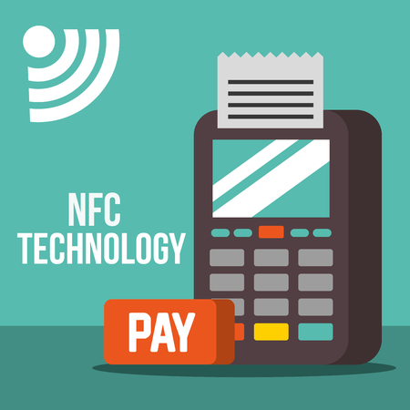 nfc payment technology dataphone pay sign vector illustration