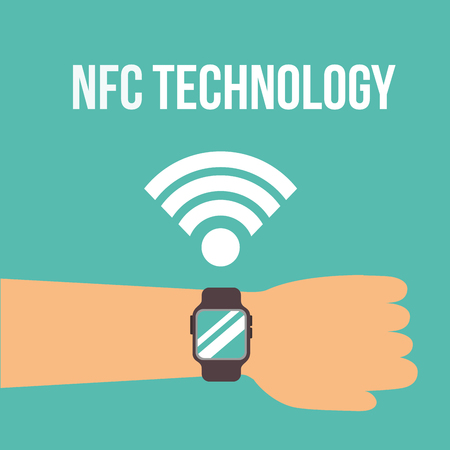 nfc payment technology signal hand using wristwatch vector illustration