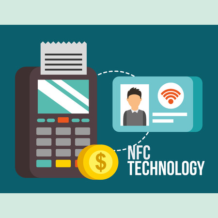 nfc payment technology coin dataphone pay credit card personal vector illustration