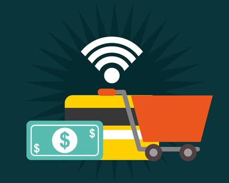nfc payment technology shopping cart money credit card vector illustration
