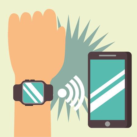 nfc payment technology hand using wristwatch signal smartphone vector illustration